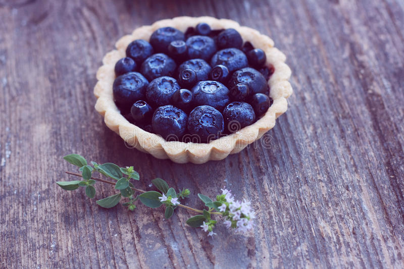 Blueberry And Blackcurrant Pie On Wood Background Stock Photo