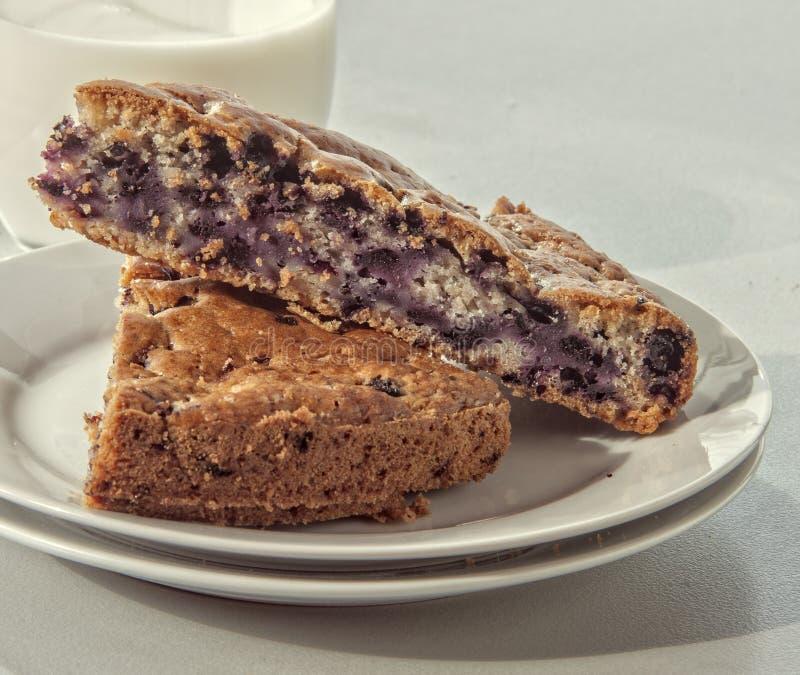Blueberry cake. Close up on white stock photo