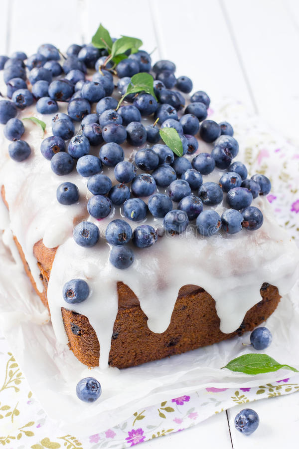 Blueberry cake with sugar icing royalty free stock image