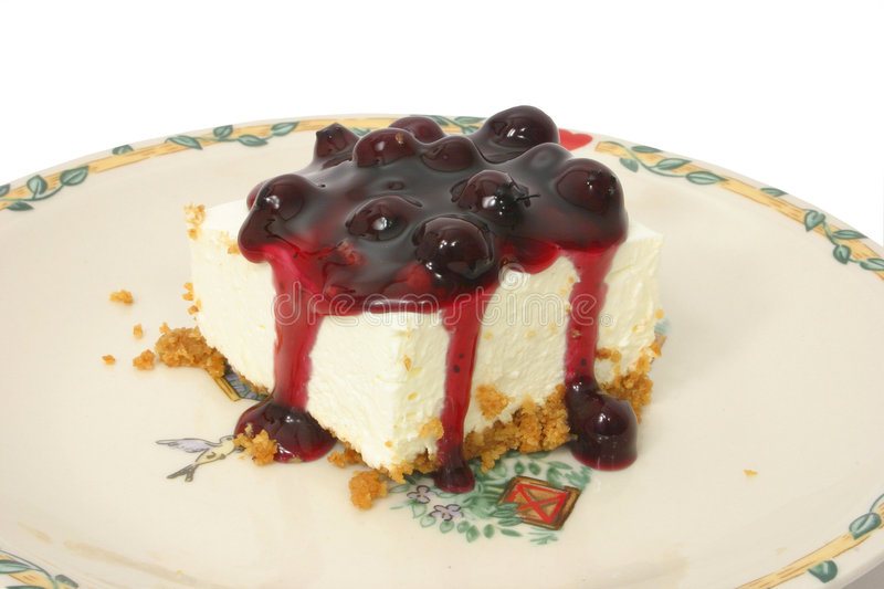 Blueberry Cheesecake Over White stock images