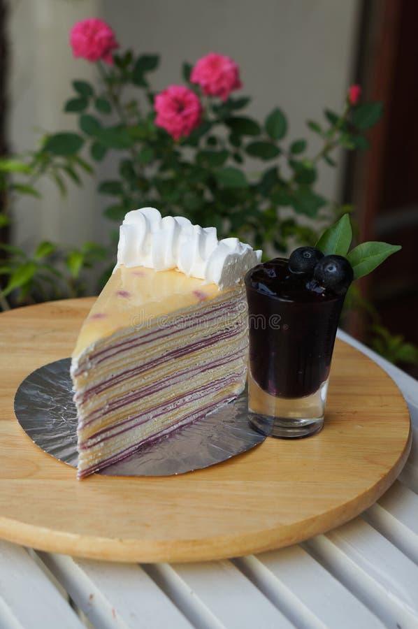Blueberry crepe cake. The homemade blueberry crepe cake royalty free stock photos