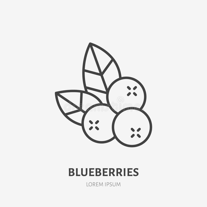 Blueberry flat line icon, forest berry sign, healthy food logo. Illustration of cranberry, lingonberry for natiral food vector illustration
