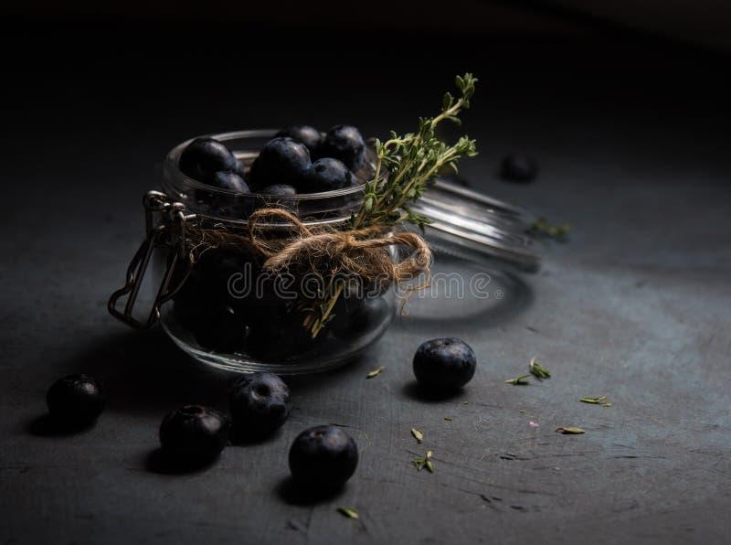 Blueberry jar low key dark photo thyme light berry fresh. Black royalty free stock photo