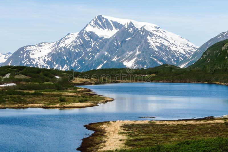 Blueberry Lake, Valdez, Alaska. 25 miles north of Valdez on the Richardson Highway, one of the favorite camping places in Alaska stock photo