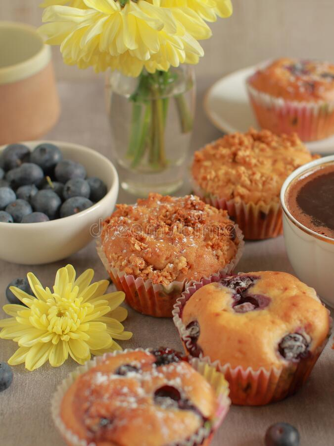 Homemade blueberry muffins on a rustic  table and a cup of coffee stock photography