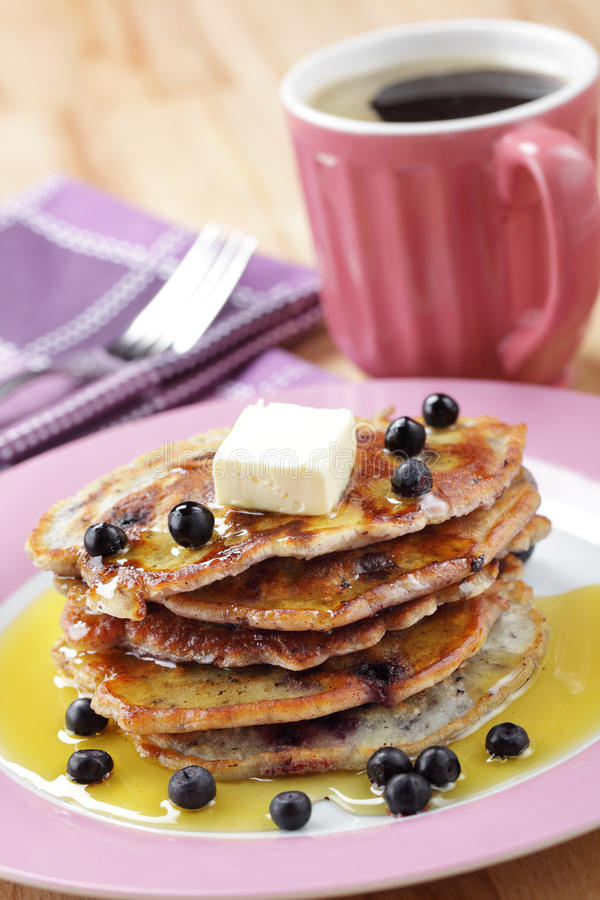 Blueberry pancakes with honey royalty free stock photos