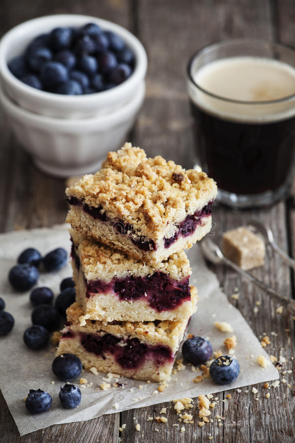 Blueberry pie bars royalty free stock image