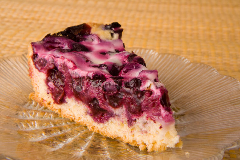 Blueberry pie on a plate stock images