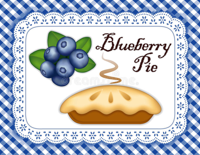 Blueberry Pie, Lace Doily Place Mat, Blue Gingham royalty free illustration