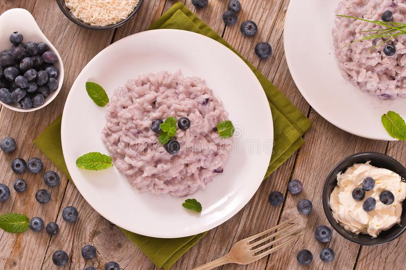 Blueberry risotto with mascarpone. stock image