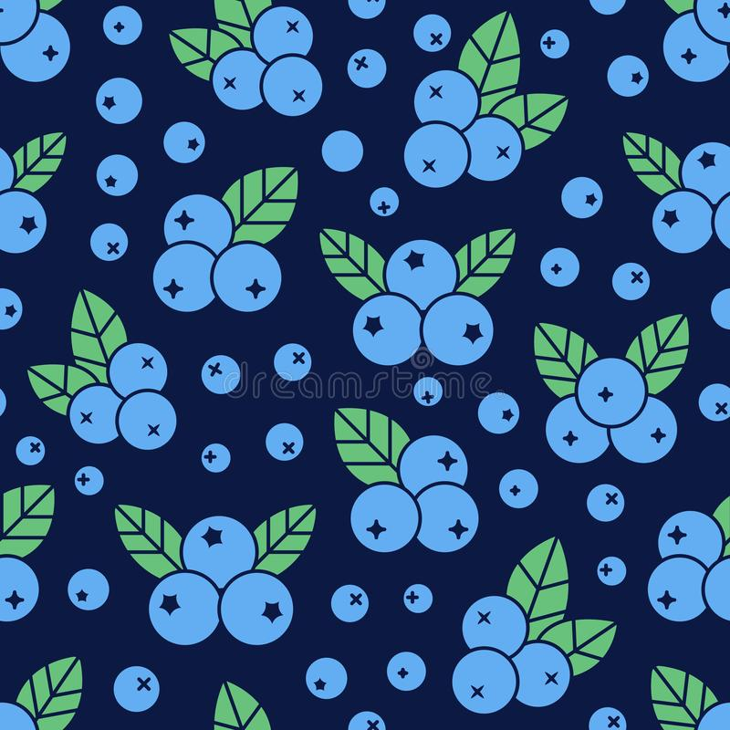 Blueberry seamless pattern with vector icons. Blue forest berries on dark background, detox food wallpaper.  royalty free illustration