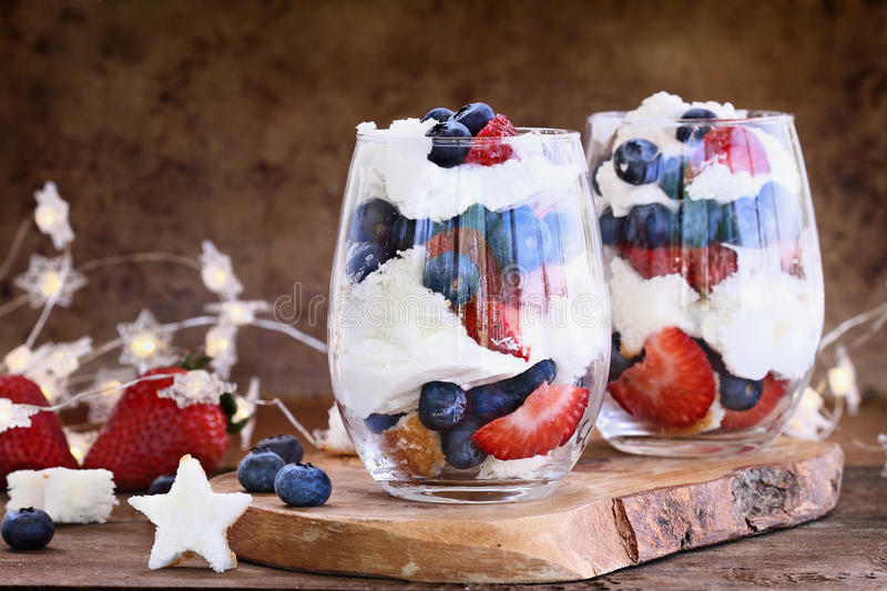 Blueberry Strawberry Trifles for July 4th royalty free stock photos