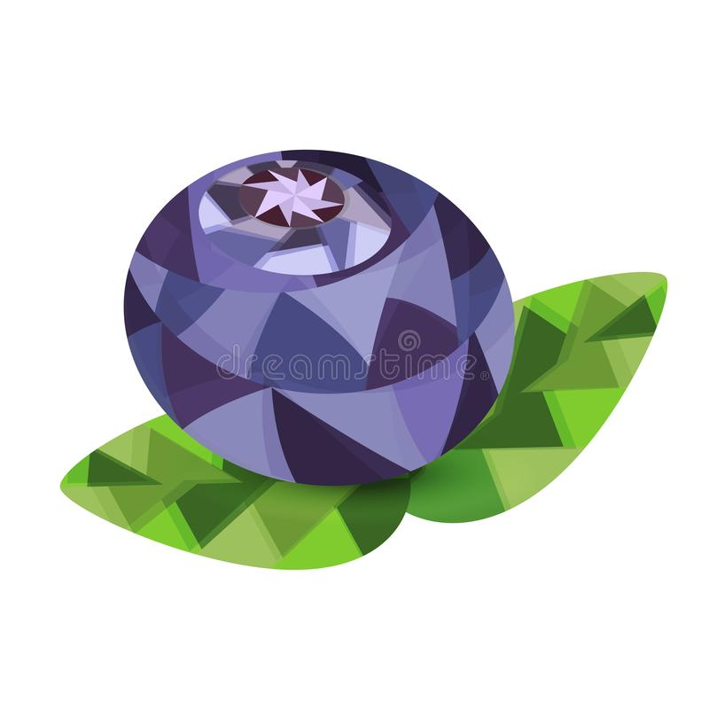 Blueberry berry with leaves isolated on white background in style low poly royalty free illustration