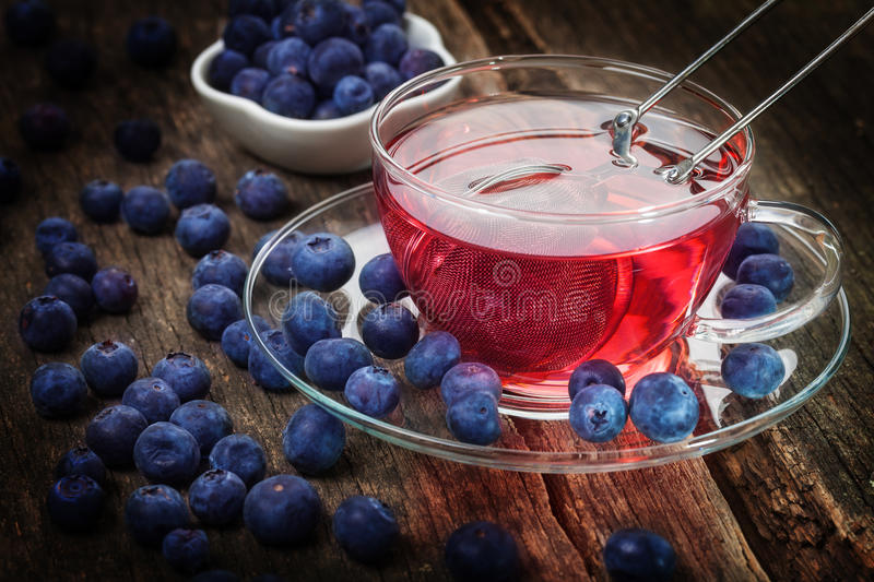 Blueberry tea, blueberry punch. And blueberries stock photo