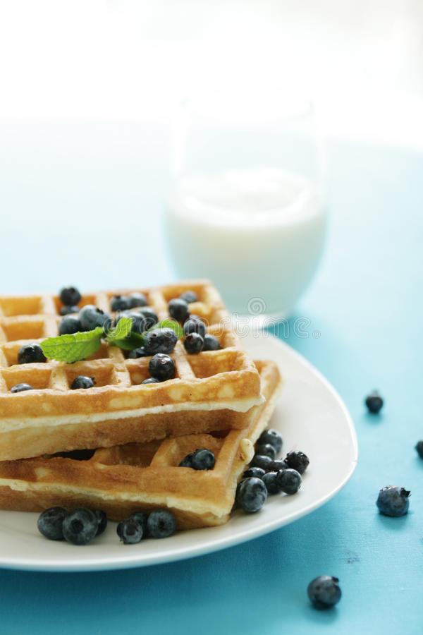 Blueberry waffles. Fresh blueberries on waffles with a cold glass of milk stock photo