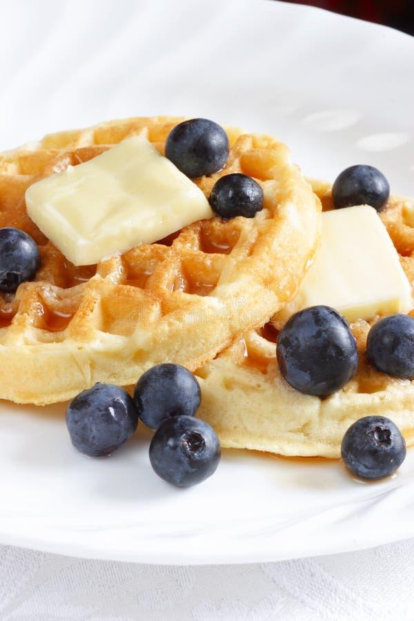 Blueberry waffles royalty free stock photo