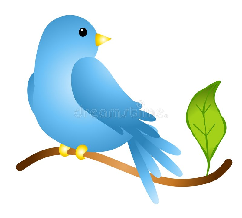 Bluebird on a Branch. An illustration featuring a bluebird sitting on a branch with a leaf royalty free illustration