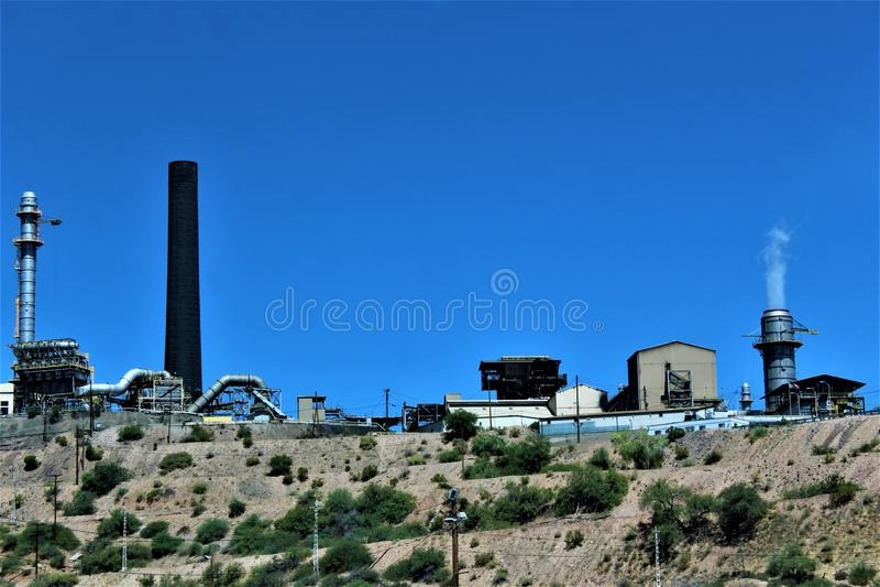 Bluebird Mine, Tonto National Forest, Globe-Miami District, Gila County, Arizona, United States. Scenic landscape view of Bluebird Mine, located in Tonto royalty free stock image