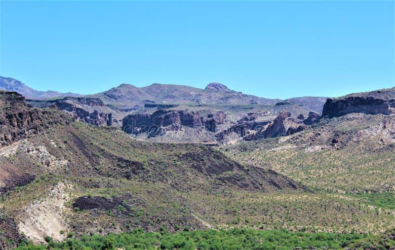 Bluebird Mine, Tonto National Forest, Globe-Miami District, Gila County, Arizona, United States. Scenic landscape view of Bluebird Mine, located in Tonto royalty free stock photography