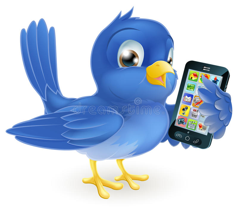 Bluebird with mobile phone. Illustration of a cute happy bluebird holding a mobile cell phone royalty free illustration