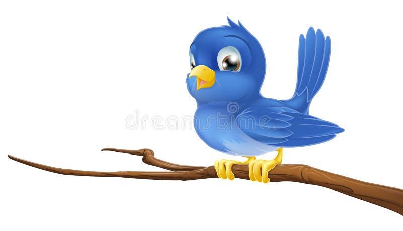 Bluebird na filial de árvore ilustração royalty free