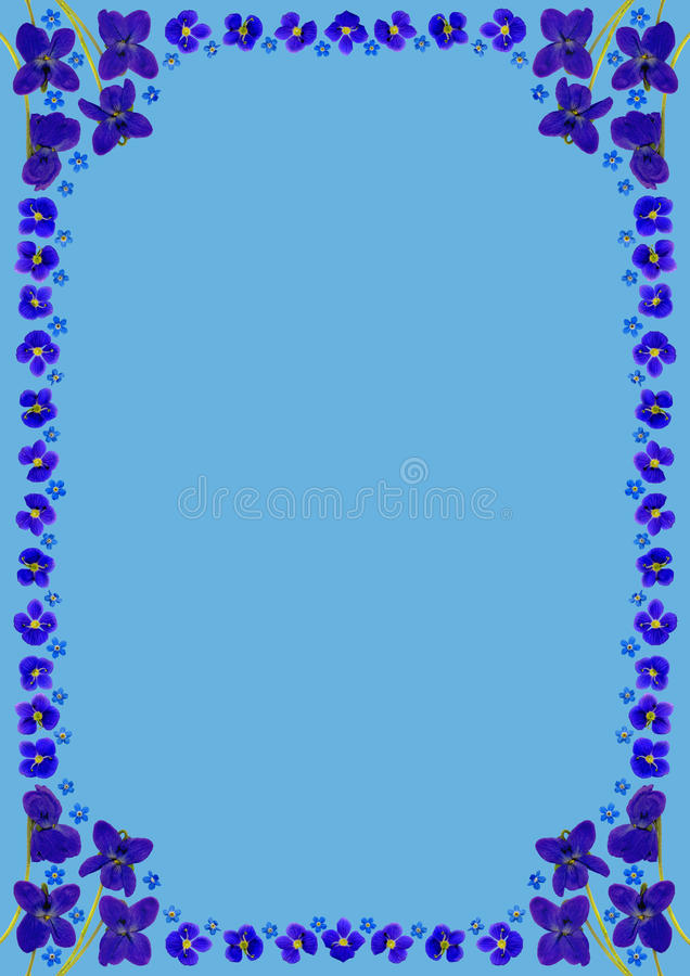 BlueBlossomsFrameDinBlue απεικόνιση αποθεμάτων