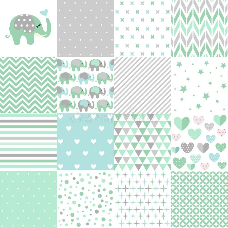 Set of baby shower patterns. Seamless pattern vector. Baby elephant vector set. royalty free illustration