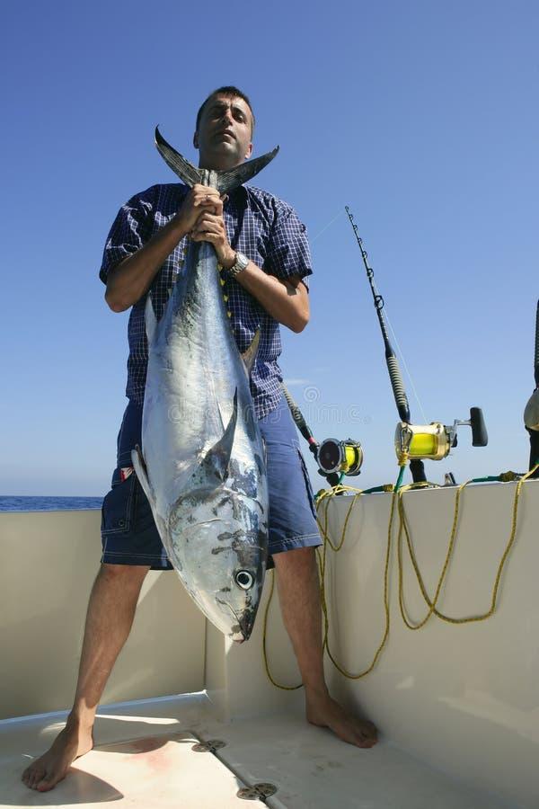 Bluefinthunfisch großes Spiel des Anglers fihing stockbilder