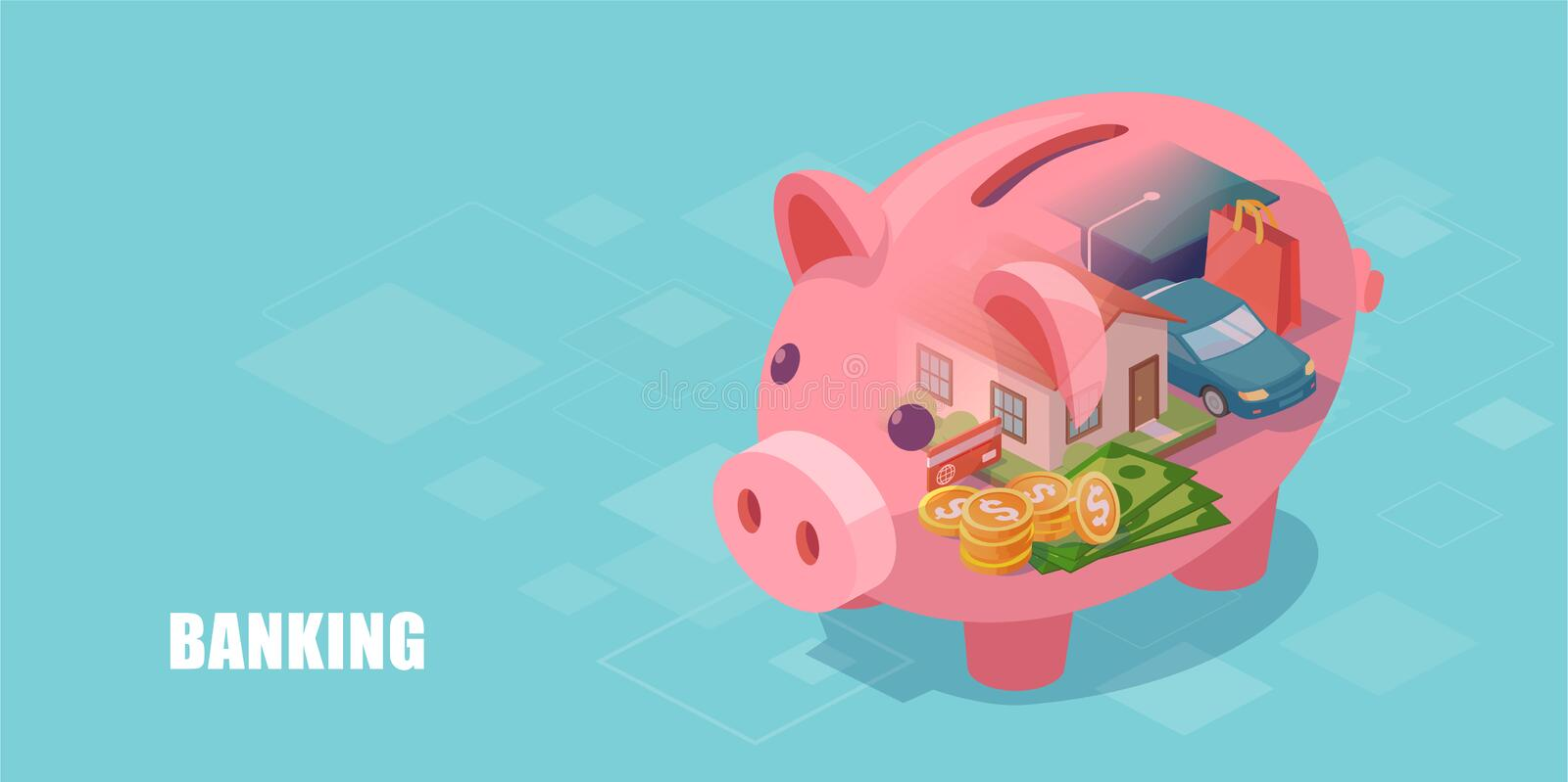 Piggy bank with dream home, car, education loan and cash savings inside vector illustration