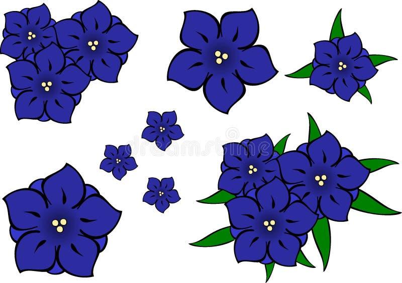 bluen blommar gentianen stock illustrationer