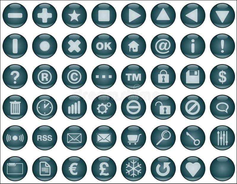 bluen buttons mörk rengöringsduk stock illustrationer
