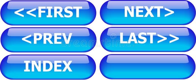 bluen buttons navigering stock illustrationer