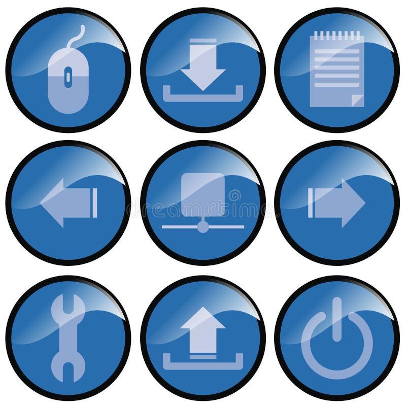 bluen buttons symbolen vektor illustrationer