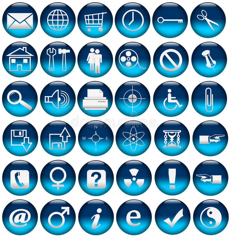 bluen buttons symbolsrengöringsduk royaltyfri illustrationer