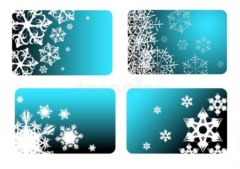 bluen cards jul vektor illustrationer