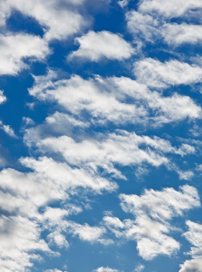 bluen clouds den fleecy skyen arkivbild