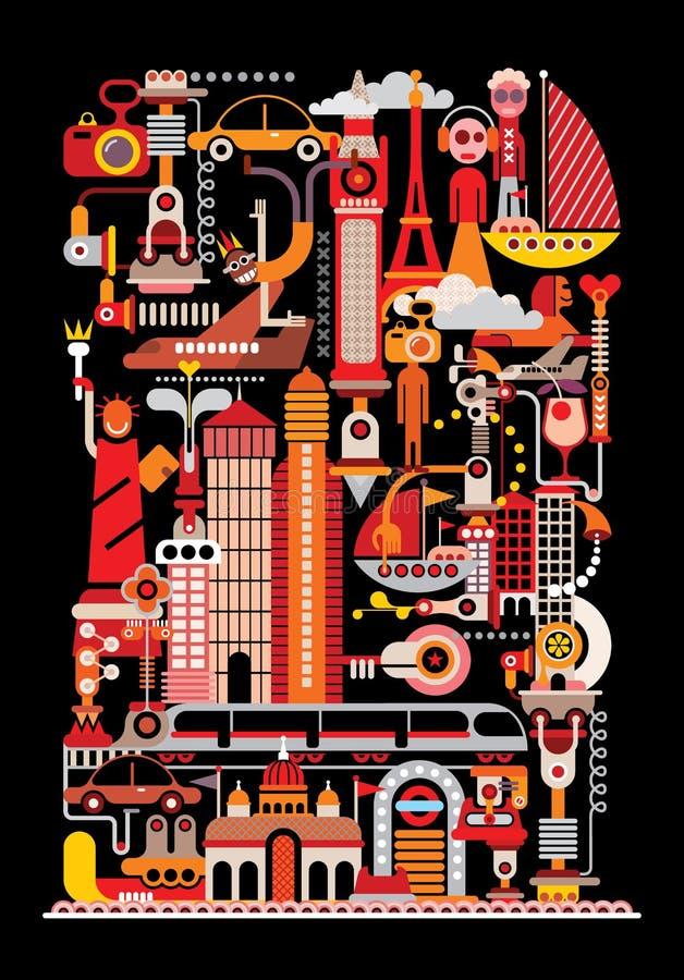 Bluen colors collage stock illustrationer