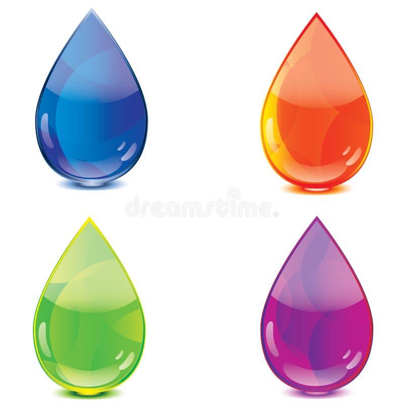 bluen tappar orange purple för grön symbol royaltyfri illustrationer
