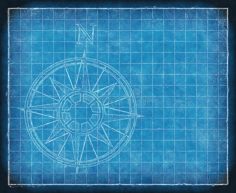 Bluepriint norte da seta do mapa de compasso ilustração royalty free