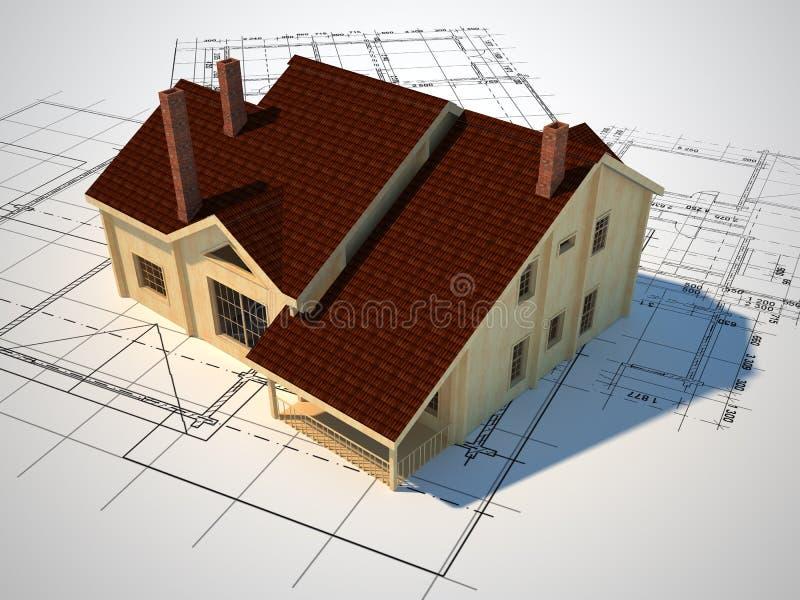 blueprint здание иллюстрация штока