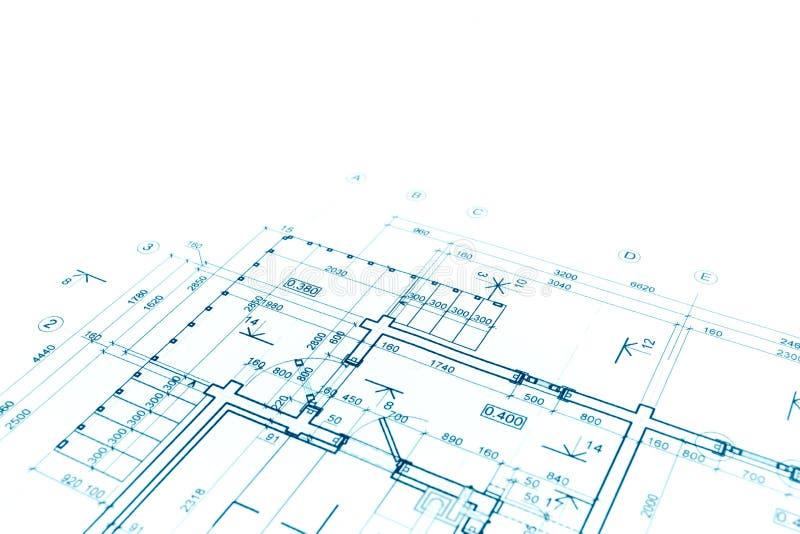 Blueprint план здания, архитектурноакустический чертеж, backgr конструкции стоковая фотография rf