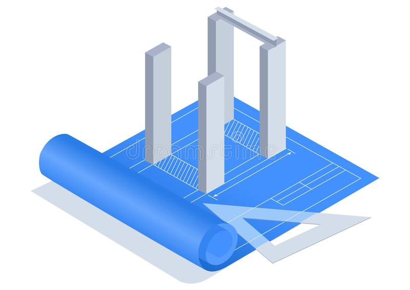 Blueprint. Stock image of a blueprint on white background stock illustration