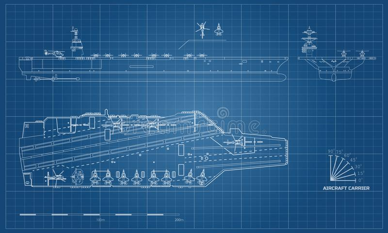 Blueprint of aircraft carrier. Military ship. Top, front and side view. Battleship model. Warship in outline style. Blueprint of aircraft carrier. Military ship stock illustration