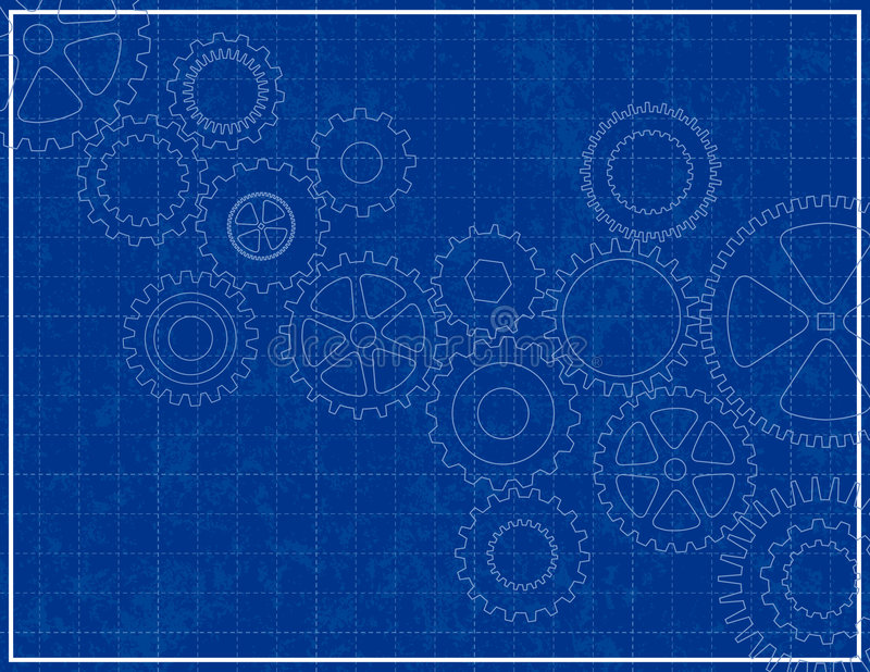 Download Blueprint Background With Cogs Stock Vector - Image: 3627452