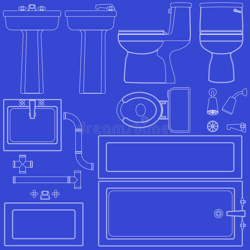 Blueprint bathroom fixtures stock vector illustration of download blueprint bathroom fixtures stock vector illustration of illustration blue 14834650 malvernweather Images
