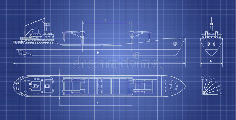 Blueprint of cargo ship on a white background. Top, side and front view. Container transport stock illustration