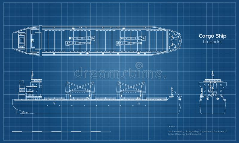 Blueprint of cargo ship on white background. Top, side and front view of tanker. Container boat industrial drawing. Vector illustration stock illustration