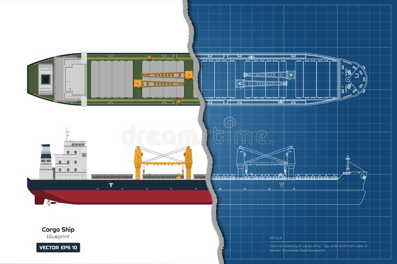 Blueprint of cargo ship on white background. Top, side and front view of tanker. Container boat industrial drawing. Vector illustration royalty free illustration