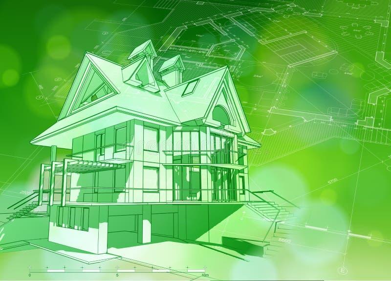 Blueprint a casa 3d, o plano & o bokeh verde ilustração royalty free