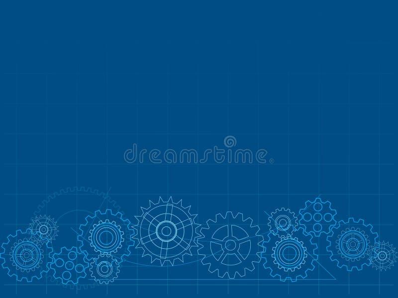 Blueprint cog background vector illustration